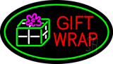 Gift Wrap Oval Green Neon Sign