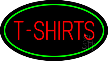 T Shirts Oval Green Neon Sign