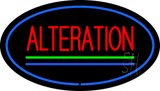 Oval Red Alteration Blue Green Line Neon Sign