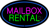 Mailbox Rental Blue Oval Neon Sign