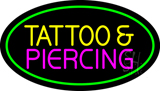 Oval Tattoo And Piercing Green Border Neon Sign