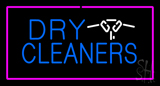 Dry Cleaners Logo Rectangle Pink Neon Sign