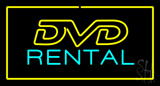 Dvd Rental Yellow Border Neon Sign