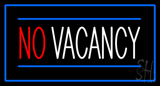 No Vacancy Rectangle Blue Neon Sign