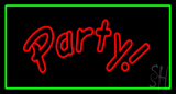 Party Rectangle Green Neon Sign