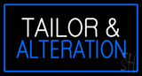 White Tailor And Alteration With Blue Border Neon Sign