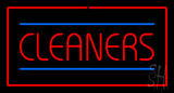 Red Cleaners Blue Lines Red Border Neon Sign