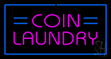 Coin Laundry With Blue Border Neon Sign