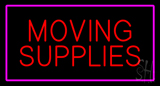 Moving Supplies Rectangle Purple Neon Sign