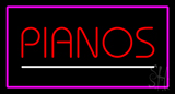Pianos White Line Purple Rectangle Neon Sign