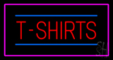 T Shirts Rectangle Pink Border Neon Sign