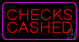 Red Checks Cashed Pink Border Neon Sign