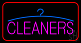 Pink Cleaners Logo Red Border Neon Sign