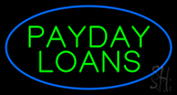 Green Payday Loans Oval Blue Border Neon Sign