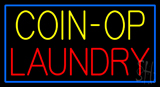 Yellow Coin Op Laundry Blue Border Neon Sign