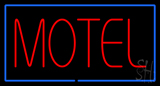 Motel With Blue Border Neon Sign
