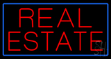 Red Real Estate Blue Border Neon Sign