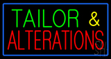 Green Tailor And Red Alteration Blue Border Neon Sign