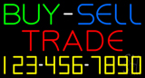 Multi Colored Buy Sell Trade With Phone Number Neon Sign