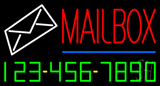 Mailbox Blue Line Phone Number Neon Sign