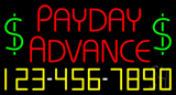 Red Payday Advance With Phone Number Neon Sign