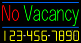 No Vacancy With Phone Number Neon Sign