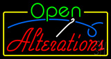 Green Open Red Alterations Yellow Border Neon Sign