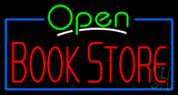 Green Open Book Store Blue Border Neon Sign