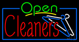 Green Open Red Cleaners Neon Sign