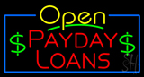 Yellow Open Payday Loans Neon Sign