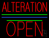Alteration Block Open Green Line Neon Sign