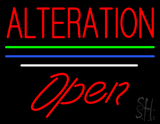 Red Alteration Blue Green White Line Open Neon Sign