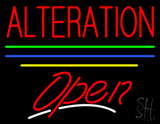 Alteration Open Yellow Line Neon Sign