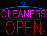 Pink Cleaners Block Open Neon Sign