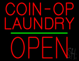 Red Coin Op Laundry Block Open Green Line Neon Sign