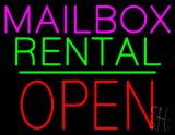 Mailbox Rental Block Open Green Line Neon Sign