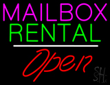 Mailbox Rental Open White Line Neon Sign
