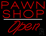 Pawn Shop Open White Line Neon Sign