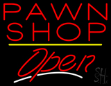 Pawn Shop Open Yellow Line Neon Sign