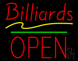 Billiards Block Open Green Line Neon Sign