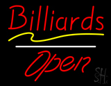Red Billiards Open White Line Neon Sign