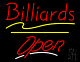 Red Billiards Open Yellow Line Neon Sign
