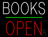 Books Block Open Green Line Neon Sign