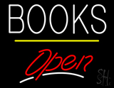 Books Open Yellow Line Neon Sign