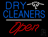 Dry Cleaners Logo Open White Line Neon Sign