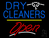 Dry Cleaners Logo Open Yellow Line Neon Sign