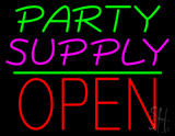 Party Supply Open Block Green Line Neon Sign