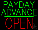 Green Payday Advance Green Line Block Red Open Neon Sign