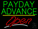Payday Advance Open Yellow Line Neon Sign