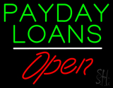 Payday Loans Open White Line Neon Sign